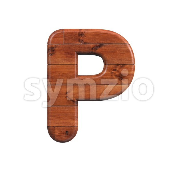 Upper-case wood character P