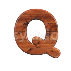 wood font Q - Upper-case 3d character Stock Photo