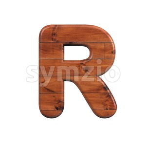 wood letter R - Uppercase 3d font Stock Photo
