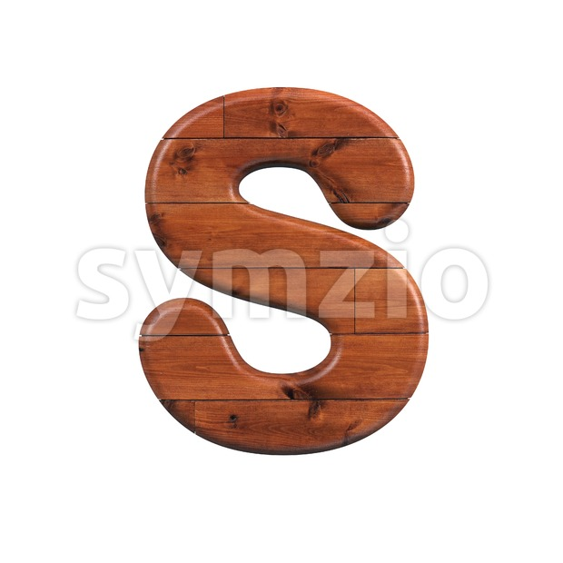 wooden font S - Uppercase 3d letter Stock Photo