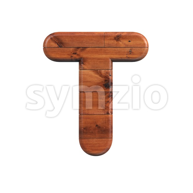 Wooden parquet character T - Uppercase 3d letter Stock Photo