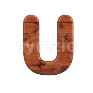 wooden letter U - Capital 3d font Stock Photo
