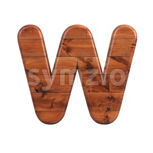 Wooden parquet font W - Capital 3d letter Stock Photo
