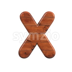 wood character X - Upper-case 3d letter Stock Photo