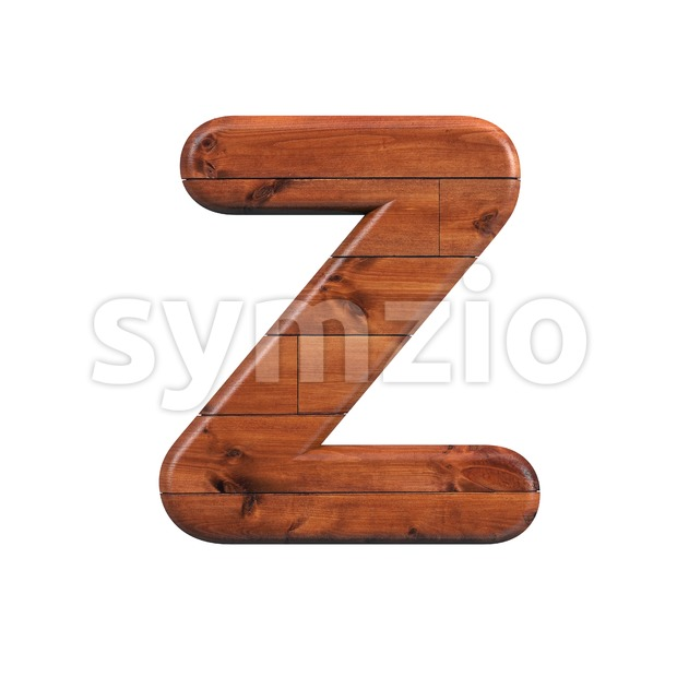 wood alphabet letter Z - Upper-case 3d font Stock Photo