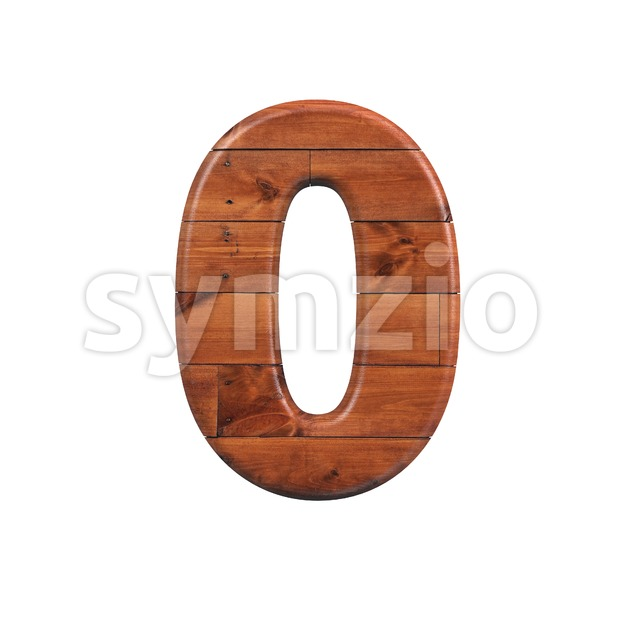 wooden number 0 - 3d digit Stock Photo
