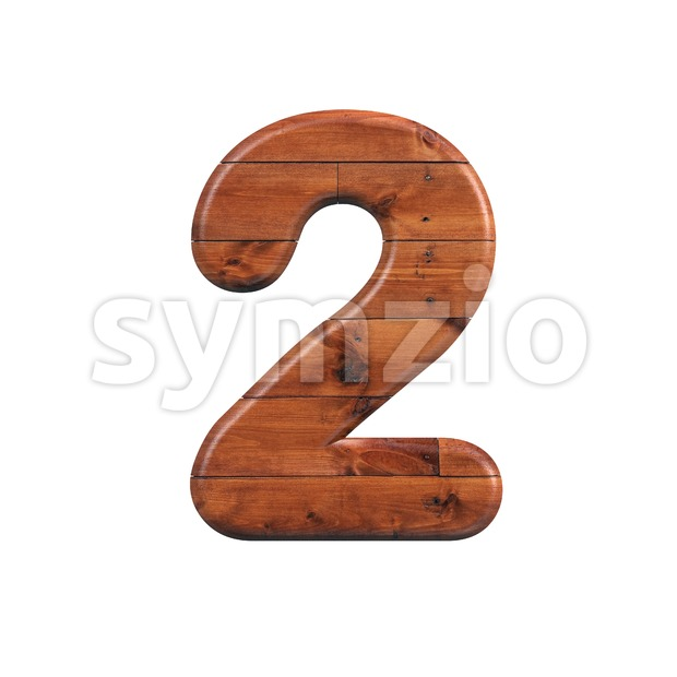 wooden digit 2 - 3d number Stock Photo