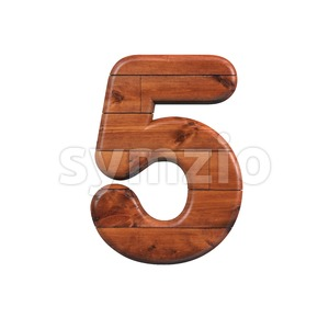 wooden number 5 - 3d digit Stock Photo