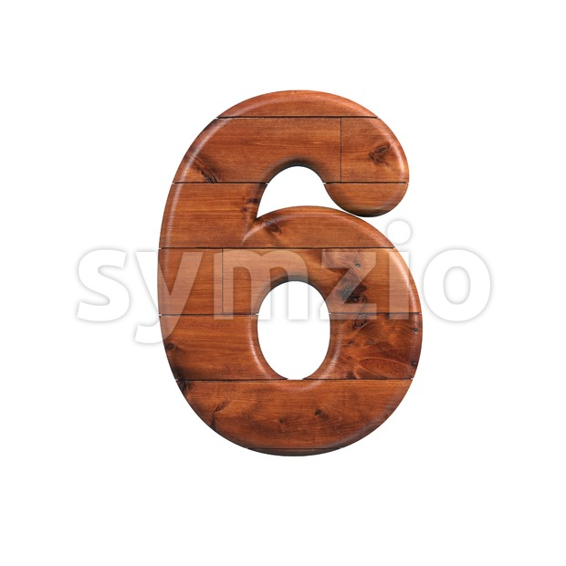 wooden digit 6 - 3d number Stock Photo