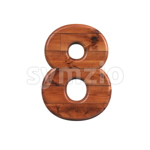 wooden digit 8 - 3d number Stock Photo