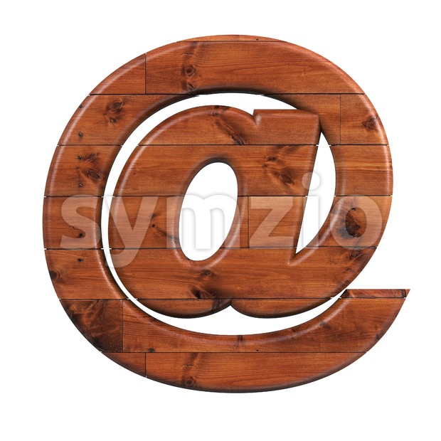 wooden at-sign - 3d arobase symbol Stock Photo