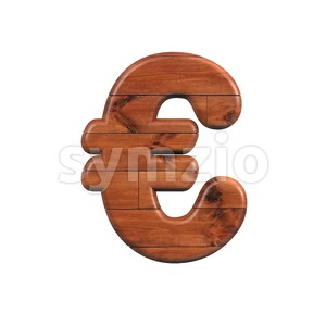 wooden euro currency sign - 3d business symbol Stock Photo