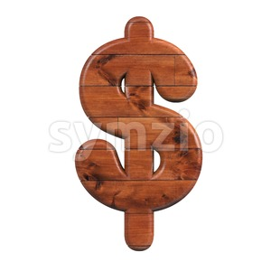 wooden dollar currency sign - 3d money symbol Stock Photo