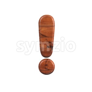 wooden exclamation point - 3d symbol Stock Photo