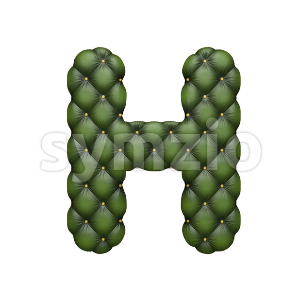 sofa 3d letter H - Upper-case 3d character Stock Photo