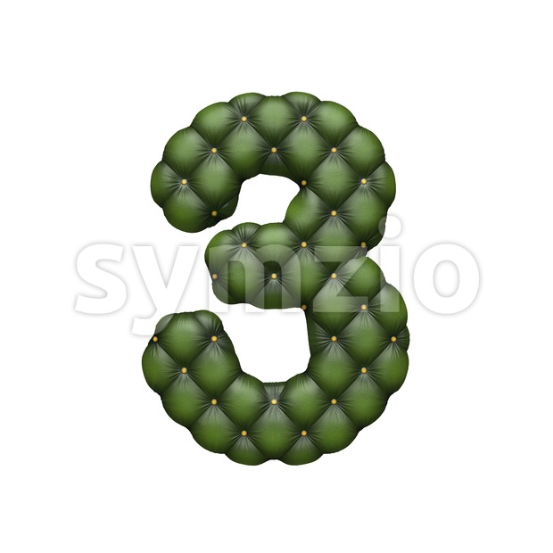 chesterfield number 3 - 3d digit Stock Photo