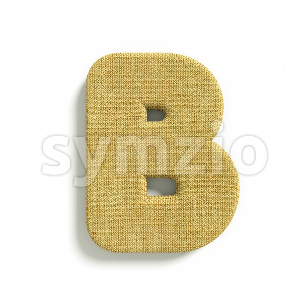 Capital burlap letter B - Upper-case 3d font Stock Photo