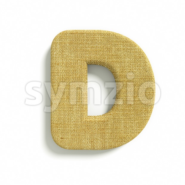 Hessian font D - Capital 3d character Stock Photo