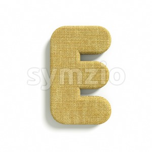 3d Capital character E covered in Hessian texture Stock Photo