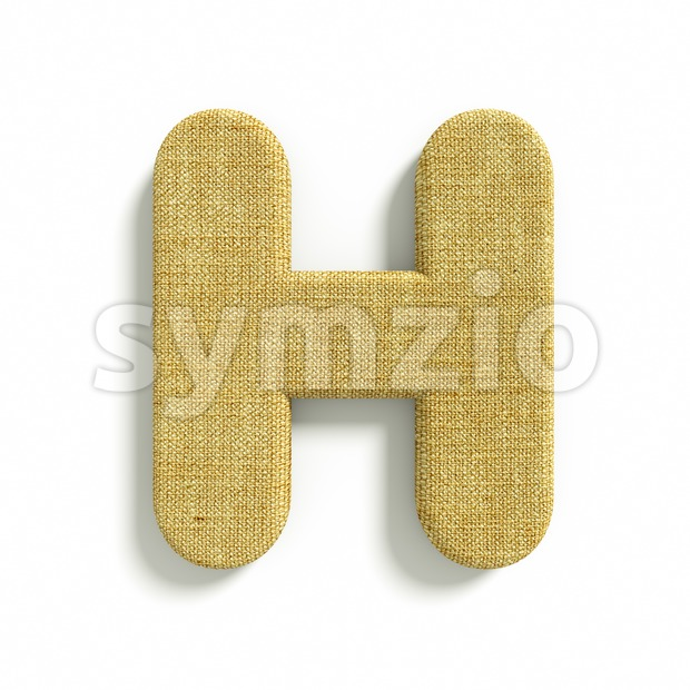 jute 3d letter H - Upper-case 3d character Stock Photo