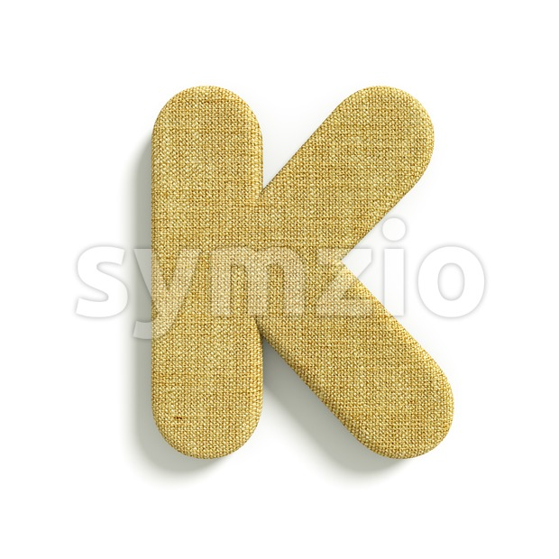 Uppercase jute letter K - Capital 3d font Stock Photo