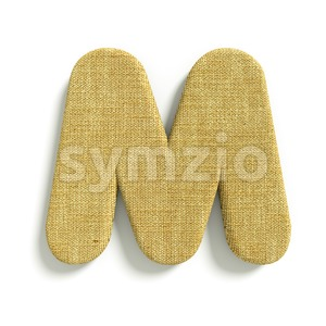 3d Capital character M covered in Hessian texture Stock Photo