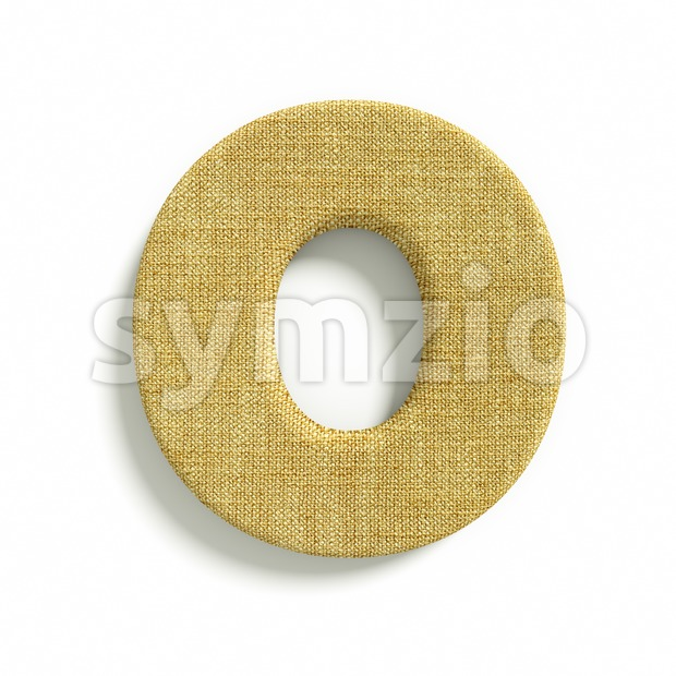 3d Upper-case letter O covered in jute texture Stock Photo