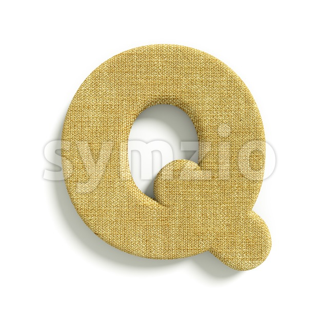 3d Upper-case font Q covered in Hessian texture Stock Photo