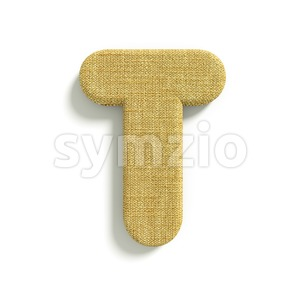 burlap character T - Uppercase 3d letter Stock Photo
