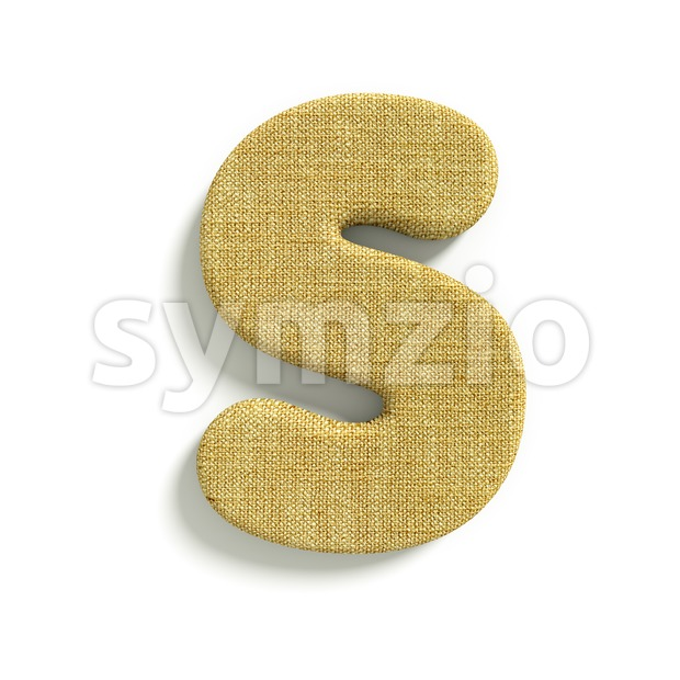 3d Uppercase font S covered in Hessian texture Stock Photo