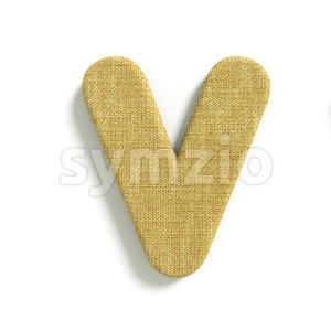 Capital jute letter V - Upper-case 3d character Stock Photo