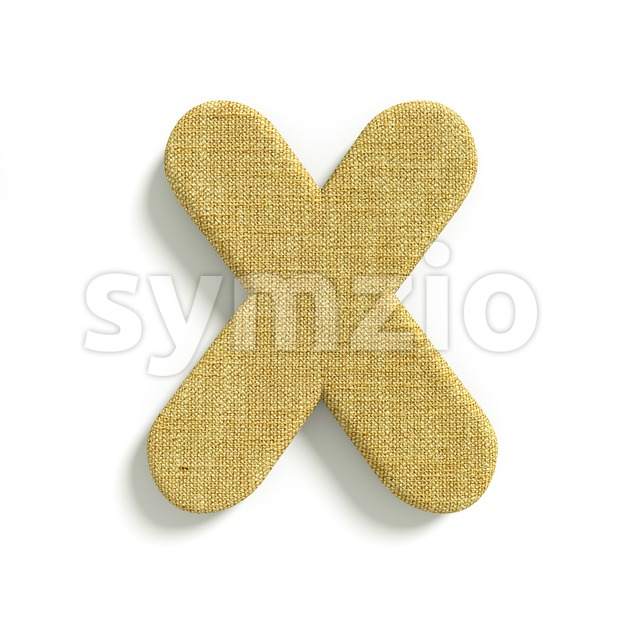 3d Upper-case character X covered in Hessian texture Stock Photo