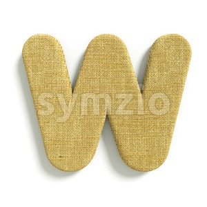 burlap font W - Capital 3d letter Stock Photo