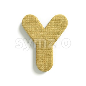 Upper-case jute font Y - Capital 3d character Stock Photo