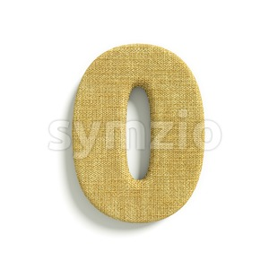 hessian fabric number 0 - 3d digit Stock Photo