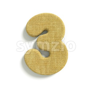 hessian fabric number 3 - 3d digit Stock Photo
