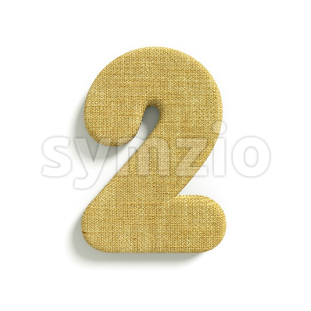 hessian fabric digit 2 - 3d number Stock Photo