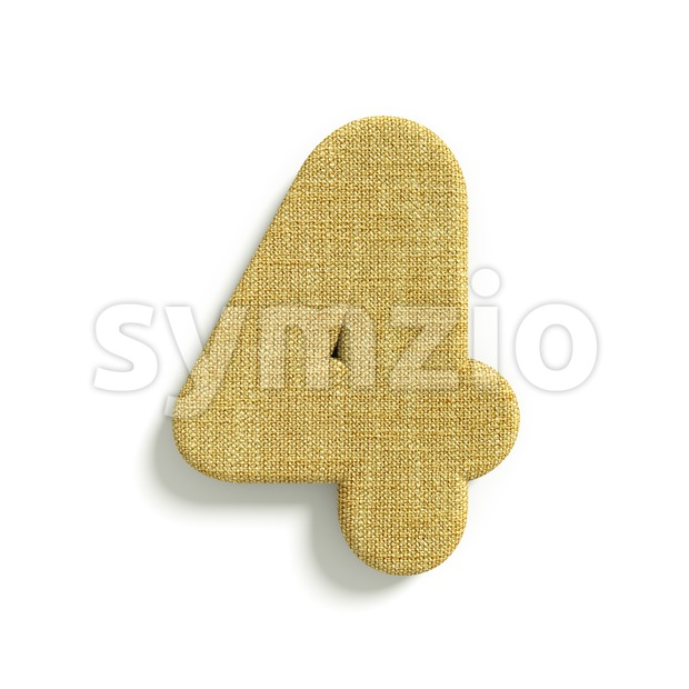 hessian fabric digit 4 - 3d number Stock Photo