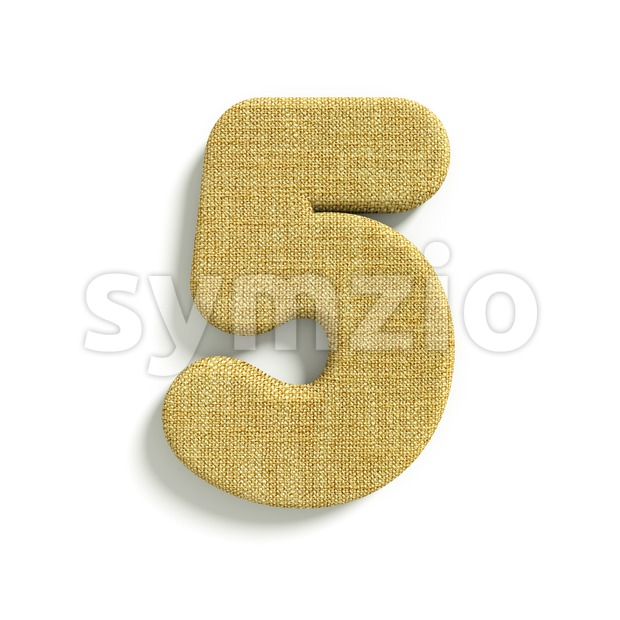 hessian fabric number 5 - 3d digit Stock Photo