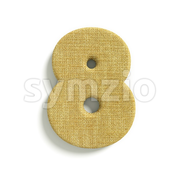 hessian fabric digit 8 - 3d number Stock Photo