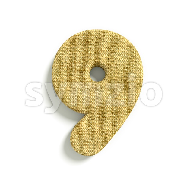 hessian fabric number 9 - 3d digit Stock Photo