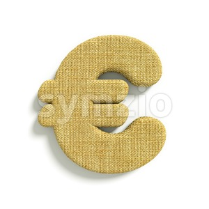 hessian fabric euro currency sign - 3d business symbol Stock Photo