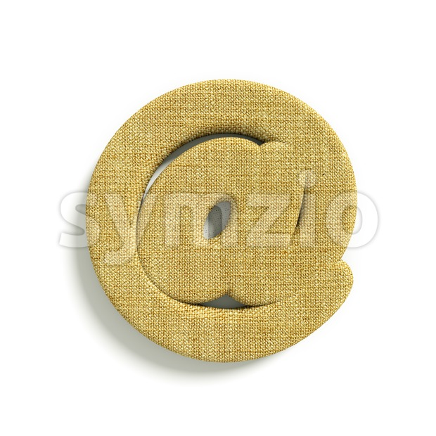 hessian fabric at-sign - 3d arobase symbol Stock Photo