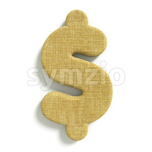 hessian fabric dollar currency sign - 3d money symbol Stock Photo