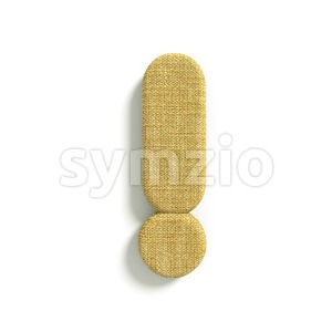 hessian fabric exclamation point - 3d symbol Stock Photo
