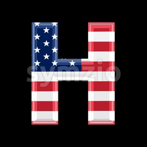 American flag 3d letter H - Upper-case 3d character Stock Photo