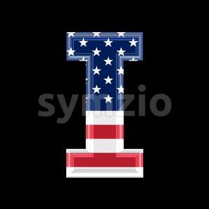 Uppercase American font I - Capital 3d letter Stock Photo