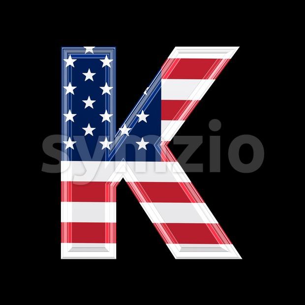 Uppercase American flag letter K - Capital 3d font Stock Photo