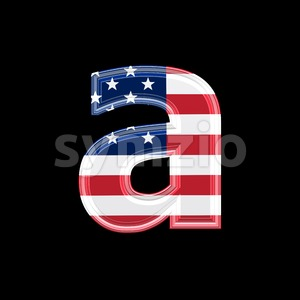 American flag font A - Lowercase 3d letter Stock Photo
