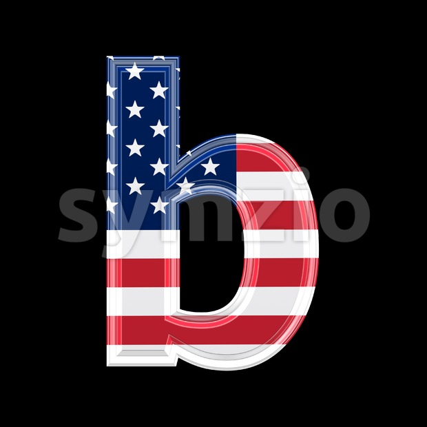 3d Lower-case character B covered in American texture